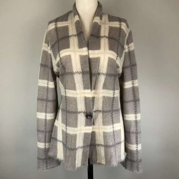 Marc Cain Plaid Mohair Jacket with Jewel Button
